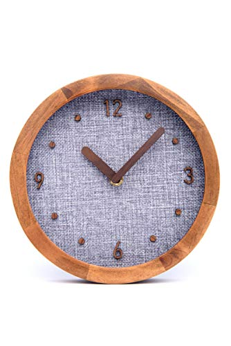 Driini Burlap Analog Wood Wall Clock 8 – Battery Operated with Silent Sweep Movement – Decorative, Rustic Wooden Clocks for Bedrooms, Kitchen, Living Room, Office or Classroom