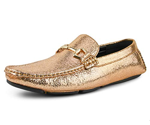 - Amali Men's Classic Driving Moccasin with A Crackle Metallic Design and Matching Bit Driving Shoe
