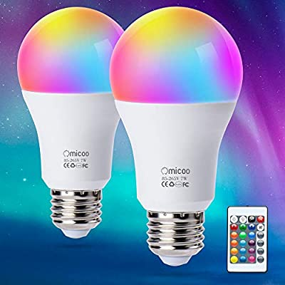 Pretigo A19 E26 LED Color Changing Light Bulbs,4 Modes 16 Color Changing,Dimmable 6W 470lm with Daylight White and Remote Controller,40W Equivalent for Home Decor,Party(2-Pack)