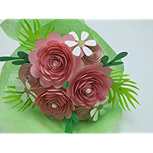 Pink Rose Paper Flower Bouquet, Valentine's Day Gift Idea, Modern Roses and Daisies on Stems, Set of 15 Floral Picks 66