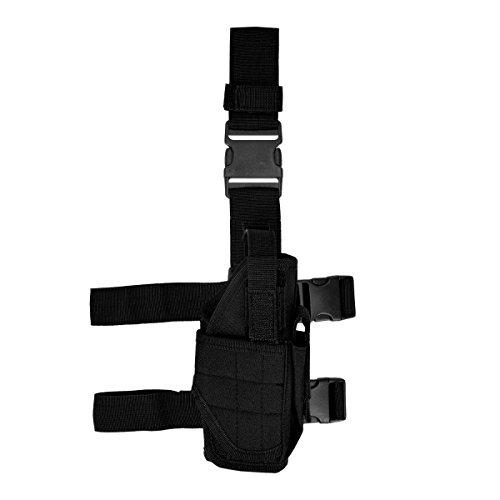 [kwmobile Gun leg holster right Deep draw holster with leg and belt fastening in black] (Leg Gun Holster Costumes)
