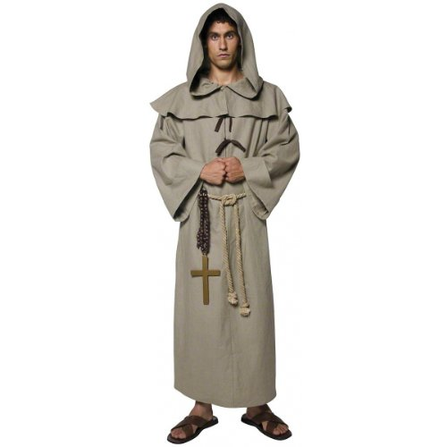 Smiffy's Men's Friar Tuck Costume, Robe, Hood, Belt and Cross, Tales of Old England, Serious Fun, Size M, 36275