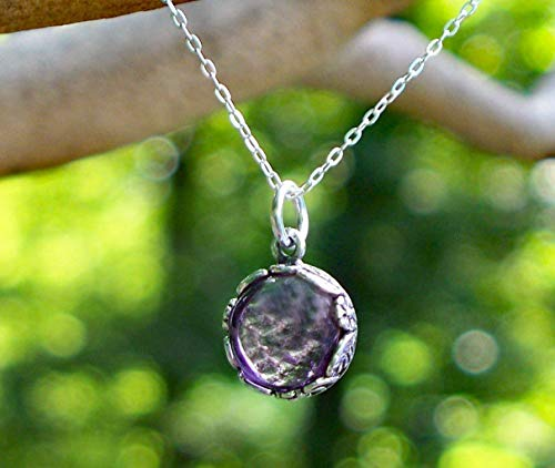 Recycled Antique Purple Medicine Bottle and Sterling Silver Botanical Collection Necklace