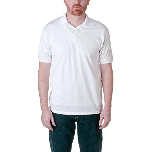 Adult Cotton Pique Polo (Men's 7 oz Hanes STEDMAN Cotton Pique Polo Adult XL(46-48), White)