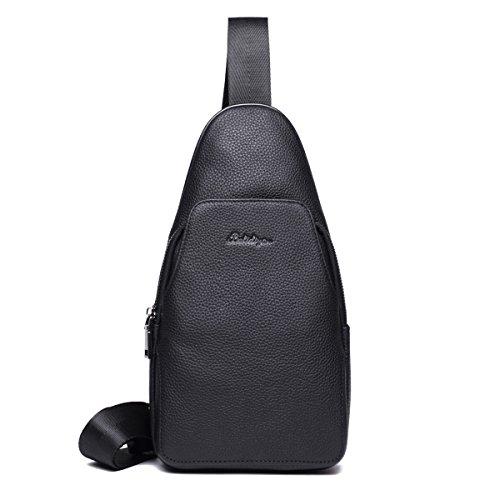 Backpack Leather Bag Men Chest, Shoulder Bags Shoulder Bag Small Black Leather Work For School Biking Hiking Black-b