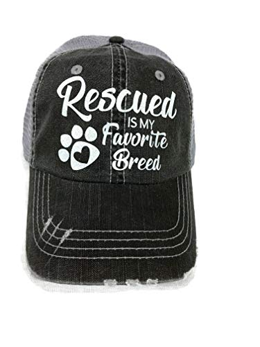- White Glitter Rescued is My Favorite Breed Grey Trucker Cap Pet Animal Dog Cat