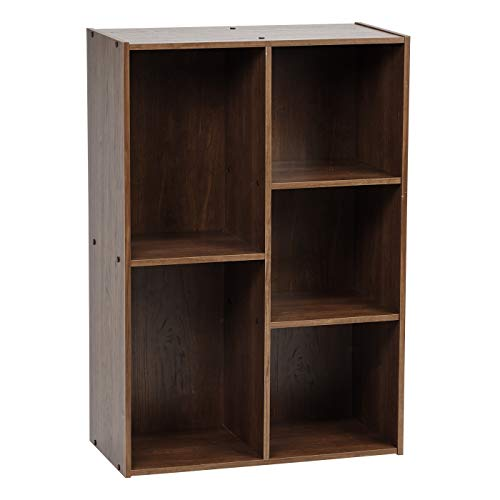 IRIS USA 5-Compartment Wood Organizer Bookcase Storage Shelf, Brown