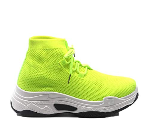 Cape Robbin Its Real Fitted Lace Up Platform Dad Boyfried Sock Sneakers (7, - Platform Lime Shoes