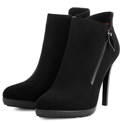 COOLCEPT Women Boots Side Zipper Black SYqNMI