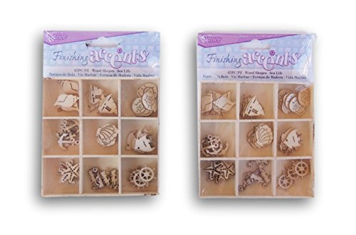 Laser Cut Shapes - Finishing Accents - Ocean Themed Mini Laser Cuts Wood Shapes - 90 Pieces