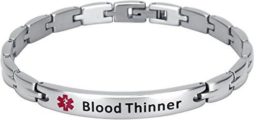Elegant Surgical Grade Steel Medical Alert ID Bracelet for Men and Women (Women's, Blood Thinner)