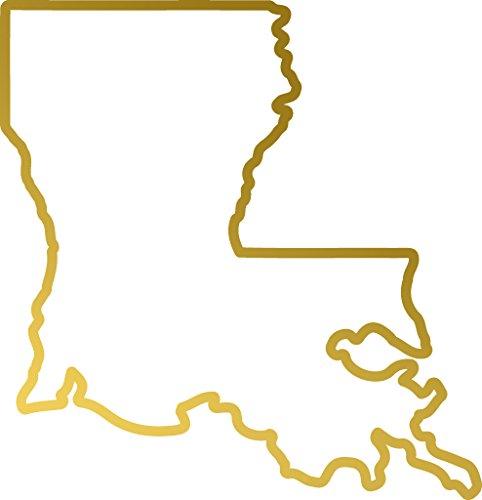 ANGDEST Louisiana US Map Outline (METALLIC GOLD) Waterproof Vinyl Decal Stickers for Laptop Phone Helmet Car Window Bumper Mug Tuber Cup Door Wall Decoration