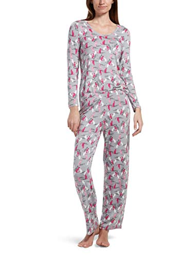 Printed Knit Tee - HUE Women's Printed Knit Long Sleeve Tee and Pant 2 Piece Pajama Set, Silver Sconce/Copy cat, Extra Large