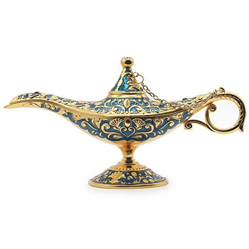 AVESON Luxury Classic Vintage Collectable Rare Legend Aladdin Magic Genie Costume Lamp Home Table Decoration & Gift, Golden Blue