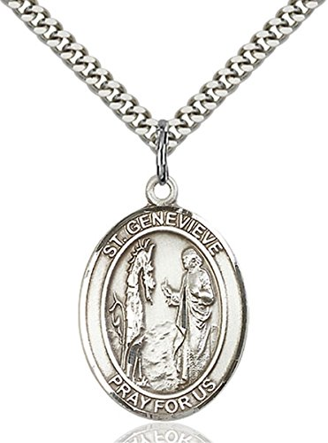Sterling Silver Saint Genevieve Medal Pendant, 1 Inch - Genevieve Medal Pendant