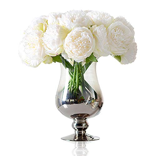 (Felice Arts Silk Peony Bouquet 5 Heads Artificial Fake Flower Bunch Bouquet Bridal Bouquet Wedding Living Room Table Home Garden Decoration, Cream)
