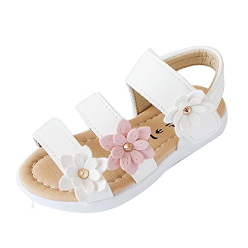 Lurryly Girls Children Big Flower Sandals,Summer Fashion Flat Pricness Shoes 1-6 T (Size:27, US:8, Age:4.5T, White)