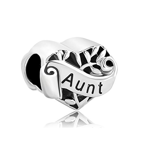 LovelyJewelry Heart Love Charms Aunt on Filigree Family Tree of Life Bead Bracelets