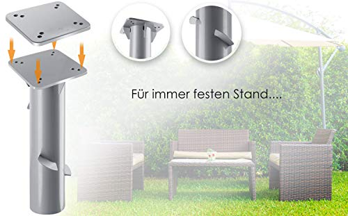 41kN ifM%2B L KESSER® - Metall Universal-Bodenplatte Sonnenschirmständer für Sonnenschirm - Ampelschirm - Kurbelschirm   Bodenanker…