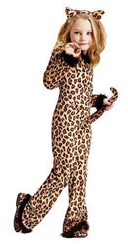 UHC Pretty Girl's Leopard Jumpsuit Toddler Kids Fancy Dress Halloween Costume, 3T-4T