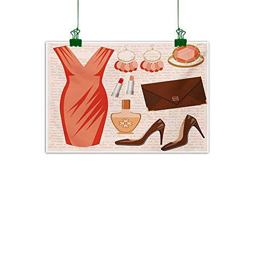 Unpremoon Heels and Dresses,Wall Decoration Accessories Fashion Cocktail Dress Lipstick Earrings High Heels Abstract Art Salmon Brown Peach W 47