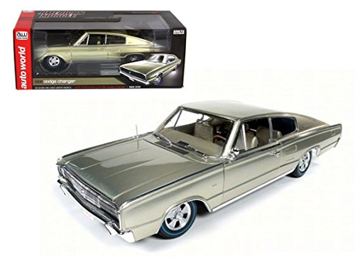 18 1966 Dodge Charger - New 1:18 AUTO WORLD AMERICAN MUSCLE COLLECTION - CHAMPAGNE 1966 DODGE CHARGER 50TH ANNIVERSARY Diecast Model Car By Auto World
