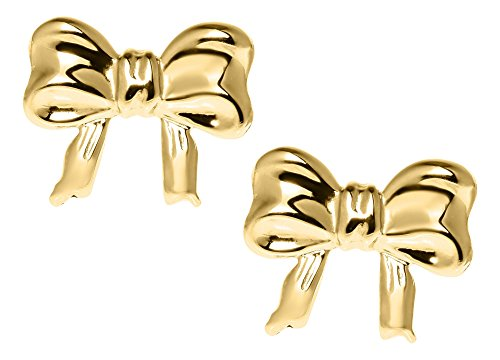 JAMBS JEWELRY 14KT YELLOW GOLD BOW SAFETY EARRINGS FOR CHILDREN by JAMBS JEWELRY