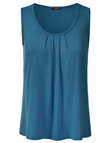 (EIMIN Women's Pleated Scoop Neck Sleeveless Stretch Basic Soft Tank Top Teal M)