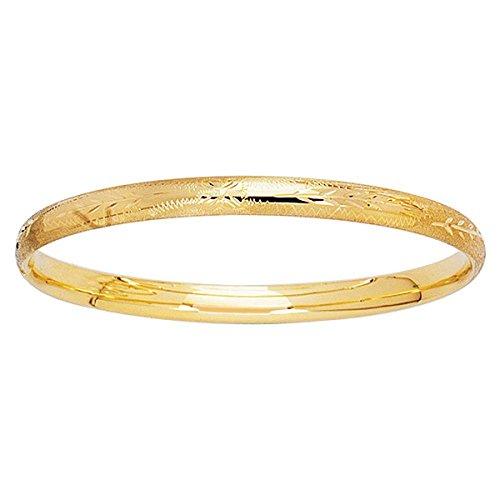 14k Yellow Gold 5.5 Inch Polish Finish Round Vine Leaf Pattern Girls Bangle Bracelet