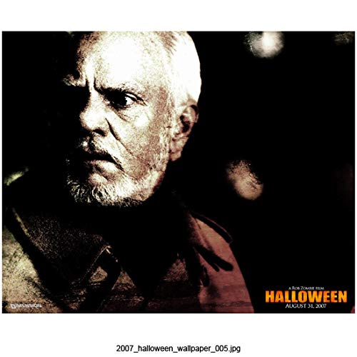 Malcolm McDowell 8 inch x 10 inch Photograph Halloween (2007) Looking Left Title in Lower Right Corner kn -