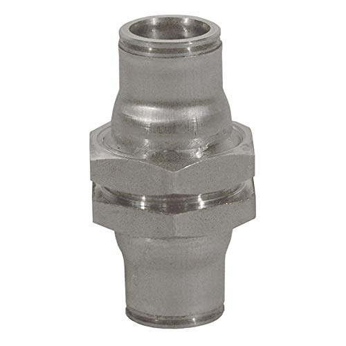 Legris 3816 56 00 Stainless Steel 316 Push-to-Connect Fitting, Inline Bulkhead Union, 1/4