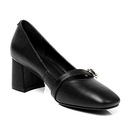 Leather Travel Casual Pumps BalaMasa Black Womens Shoes Solid APL10849 pxOqIa