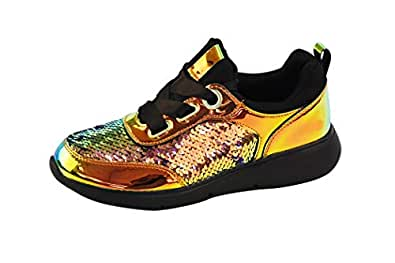 LUCKY-STEP Women Casual Sneakers Metallic PU Sequins Iridescent Lace Up Walking Shoes Size: 6