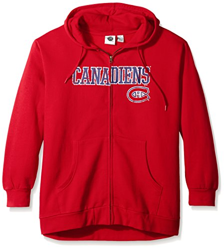 (Profile Big & Tall NHL Vancouver Canucks Women's Full Zip Hoodie with Distress Word Mark, 1X, Red)