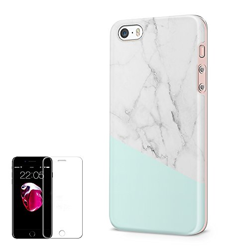 iPhone 5/5S/SE Case Obbii Unique Tiffany Marble Design Hybrid Slim Hard Shell+ Inner TPU Protective Durable Cover Case With Clear Screen Protector for iPhone - Tiffany 5s