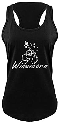 Comical Shirt Ladies Wineicorn Funny Unicorn Wine Party Shirt Racerback