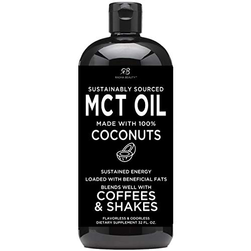 : Premium MCT Oil made only from Coconuts - 32oz BPA free bottle & Non GMO. Keto, Paleo, Gluten Free and Vegan Diet Approved by Radha Beauty