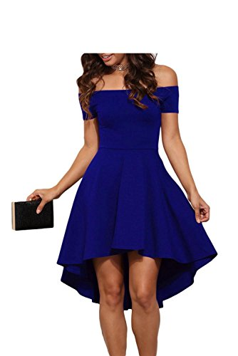 Lionune Womens Off Shoulder Wedding Prom Cocktail Casual Short Sleeve Gown High Low Evening Club Formal Skate Midi Party Swing Dress(Blue,M)