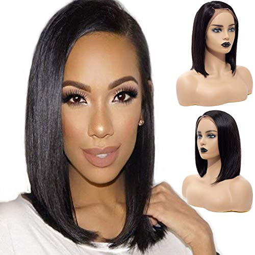Search : ATZHAIR Full Lace Wigs Brazilian Remy Human Hair Glueless Wig Straight Short Bob Wig Pre Plucked with Baby Hair for African American Women Natural Color(12 inch with 150% Density)
