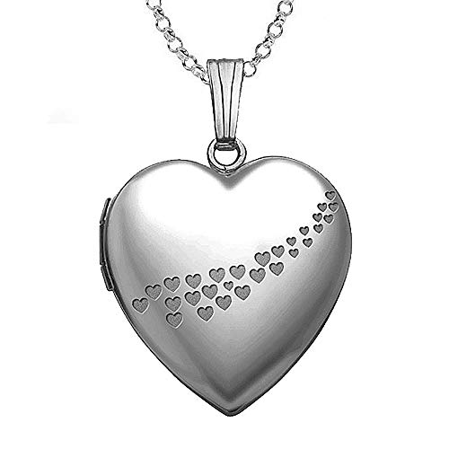 PicturesOnGold.com Sterling Silver Cascade of Hearts Heart Locket Pendant Necklace - 3/4 Inch X 3/4 Inch