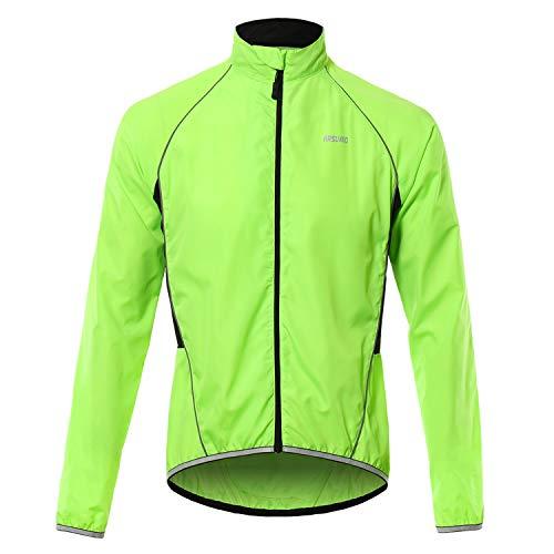Walmeck- Reflecterend fietsjack voor heren, ademend, lange mouwen, fietsshirt, windmantel, vest, outdoorsportkleding