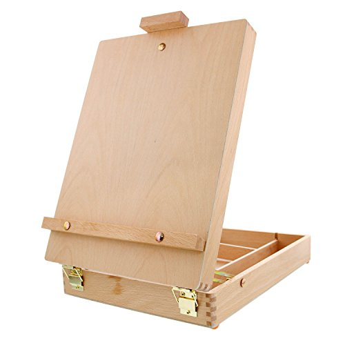 (U.S. Art Supply Antigua Adjustable Wood Table Sketchbox Easel, Premium Beechwood - Portable Wooden Artist Desktop Storage Case - Store Art Paint, Markers, Sketch Pad - Box for Drawing, Painting)