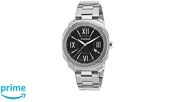 Amazon.com: Wenger 01-1141-118 Mens Edge Romans Stainless Steel Black Dial Watch: Watches