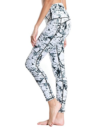 X-HERR Womens Compression Workout Yoga Leggings Power Flex Exercise Fitness Yoga Pant with High Waist Pockets (Marble White+Full Length,Large)