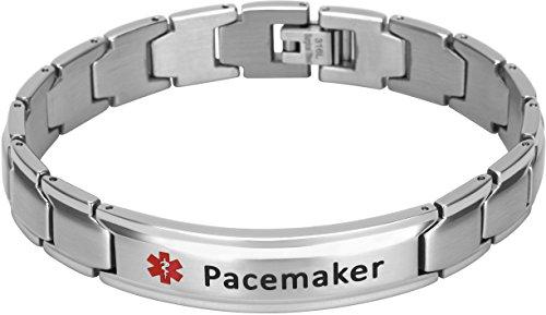 Fine Mens Bracelets - Elegant Surgical Grade Steel Medical Alert ID Bracelet for Men and Women (Men's, Pacemaker)