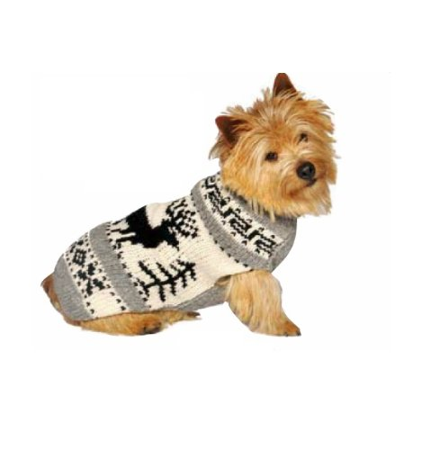 Chilly Dog Reindeer Shawl Dog Sweater, Medium by Chilly Dog