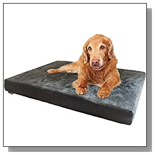 Dogbed4less Premium Orthopedic Memory Foam Dog Bed for Medium to Large Pet, Waterproof Liner, Micro Suede Gray Cover, XL Cooling 47X29X4 Pad Fit 48X30 Crate
