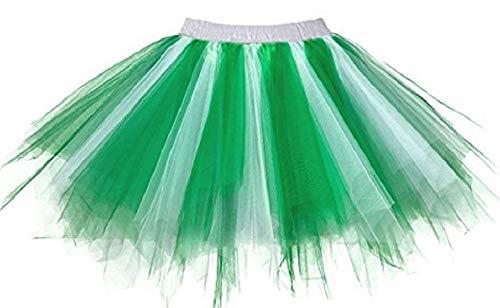Kileyi Womens Tutu Costume Adult Party Dance Tulle Skirt Short Fluffy Petticoat Green White S]()