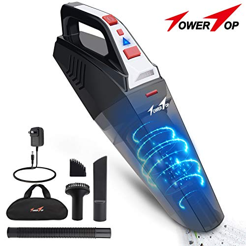 Handheld Vacuum, Hand Vacuum Cordless Portable Vacuum Cleaner with Li-ion Battery Rechargeable Quick Charge Tech, 2 LED Light Wet Dry Car Vacuum for Home and Car Cleaning