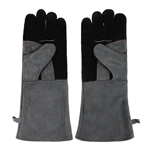 Welding Soldering Glove Oven Grill Fireplace Stove Mitts Pot Holder Insulated Fire Resistant Guard Glove Heat Shield Cowhide Lined Leather 16 inch Long Cuff Welding Sleeves and Gloves US Forge 400